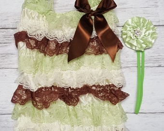 Mint Ivory Brown Lace Ruffle Petti Romper and FREE Matching Rosette Headband Cake Smash Photo Shoot 1st or 2nd Birthday