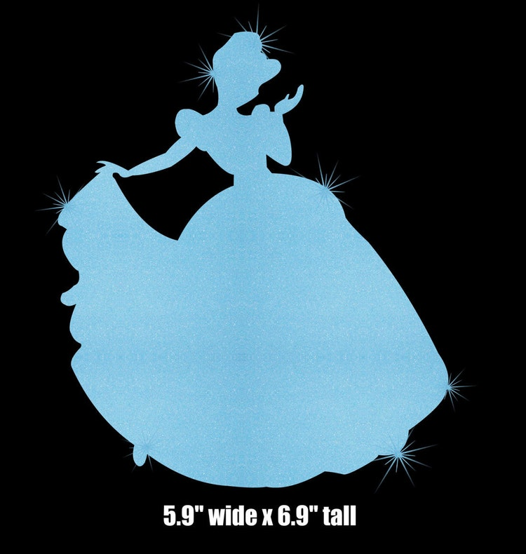 Cinderella Silhouette Iron On Glitter Disney By Myfairyscloset