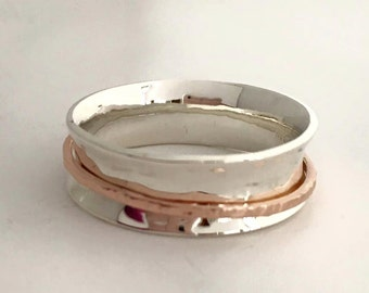 14k Rose Gold and Sterling Silver Spinner Ring, Handmade in Maine