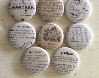 Football Vintage Dictionary Illustration Magnet Set of 8