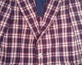 SALE Men's plaid tartan 60s seersucker suitcoat smoking jacket 39 regular  punk Mad Men playboy