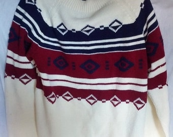 SALE jc penney ski sweater jumper pullover large big and tall size ugly cosby sweater 70s 80s