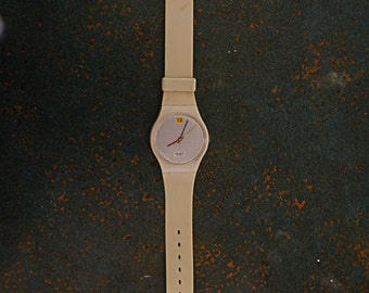 1985 Vintage Standard Swatch Watch Dotted Swiss