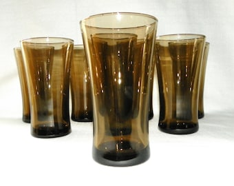 Modern Smokey Brown 14 ounce Glasses, SET of 8