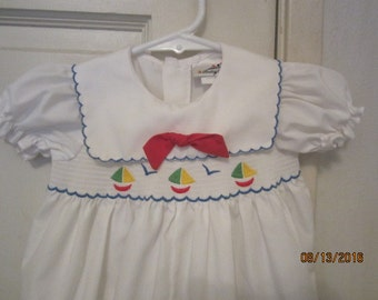 Sale Vintage style SMOCKED BABY TOGS longalls bubble romper outfit 3-6M Sailboats