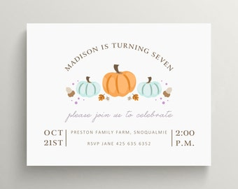 pumpkin birthday invitation set // baby shower // bridal shower // thank you note // pumpkin patch // fall // autumn // harvest // invite