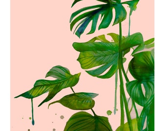 Leafy Greens, watercolor and mixed media plant illustration by Jessica Durrant