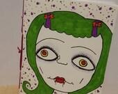 Vampire Gal , sewn binder,journal,hand drawn,original,art,gorgeous,sweet,creepy,odd,awesome,notes
