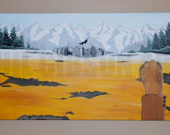 """Original 24"""" x 48""""  """"Canis Lupus"""" Oil and Acrylic Painting The Fantastic Mr. Fox Wes Anderson Art"""