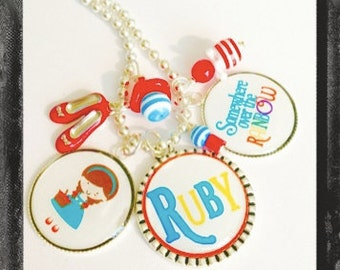 Wizard of Oz Necklace -Personalized Bezel Charms - Somewhere Over the Rainbow and Dorthy - #Q25