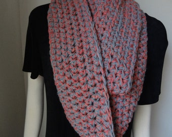 Gray Grey and Apricot Tweed Very Long Infinity Scarf Crochet Cowl Neck Scarf.