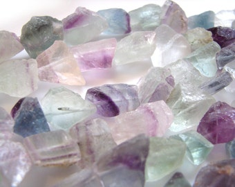 Rough Fluorite Nuggets, 15 inch strand, 11 - 23mm