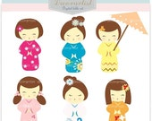 ON SALE Digital clip art, Kokeshi dolls clip art, girls, instant download girl clip art