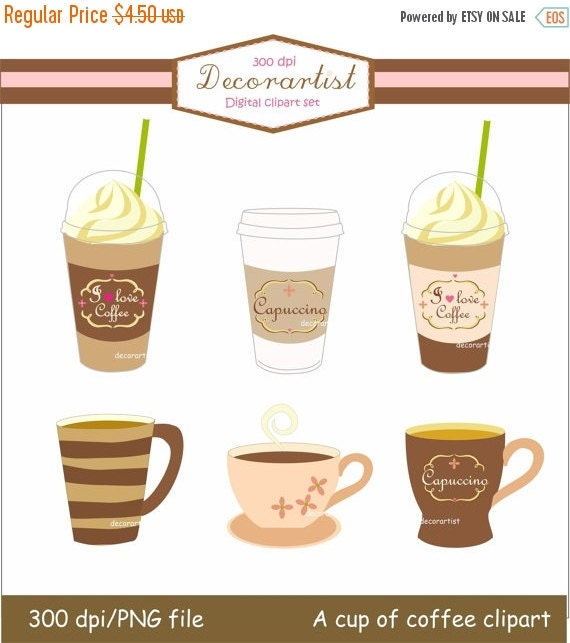 ON SALE instant download Digital clip art coffee cup,  A cup of coffee clip art