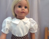 Doll Clothes - 1940 - 1950s White Peter Pan Doll Blouse – 18 Inch Doll Clothes Shown Sophia's® Doll, Shoes, Socks - 4006