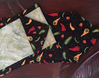 Table Runner,Hoffman Premium Batik,Green Black,Red,Orange Yellow, Chili Peppers,Reversible,Two Sides,Ready to Ship,Made in Hawaii,Backyard