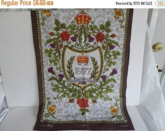 Vintage 1977 Queen's Silver Jubilee Tea Towel