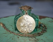 Antique Assemblage Necklace With French Mirror Locket, Bird Brooch, Emeralds & Rubies