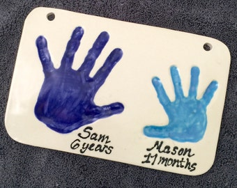 Ceramic DOUBLE Hand or Foot Prints - TWO Children on ONE Plaque