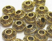 30 Antique gold bicone beads spacers jewelry making supply 6mm A725 gold bicone beads (X3)
