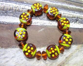 17 Honey amber lampwork beads bracelet set jewelry making strand applied dots SB1