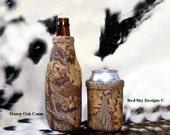 Mossy Oak Camo Beer Bottle- Mens Gift-Leather Beer Bottle Insulators - Wildlife - Hunting -Bison, Moose, Bear, Elk, Trout, Deer, plus others