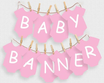 printable girls baby shower decorations pink baby one piece alphabet banner - diy instant download - first birthday decor, garland, welcome