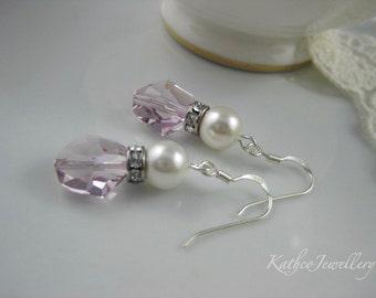 Sarah - Soft Pink Crystal Bridal Earrings. Pink Crystals Drops  Bridesmaids Earrings. Swarovski Crystal Earrings