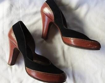 Vintage 1950s Sienna Leather and Black Suede Spectator Babydoll Heels 6