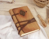 leather journal, notebook, diary in caramel ocher with vintage style old paper, custom personalized quote - Lyric