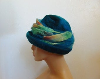 60s Christian Dior teal velour hat with feathers size 21