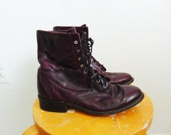 80s purple LEATHER ROPER boots combat size 8