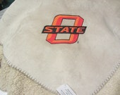 Beige Custom Oklahoma State Monogrammed Faux Sherpa Polyester Oversized Throw