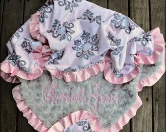 Damask Baby Blanket,Gray Minky Swirl,Satin Ruffle,Personalized Blanket,Pink,Gray,Baby Girl,Minky Blanket
