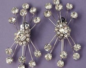 Unique Vintage Mid Century RETRO Rhinestone Earrings /  Brilliant Starburst Rhinestone Earrings / Wedding Jewelry / Wedding Earrings