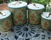 Cottage Chintz ~ Set of 4 Vintage Tins ~ Canisters
