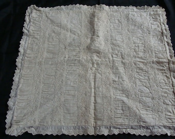 A Beautiful Mess...Antique ~ Vintage White on White Tuck & Eyelet Small Pillow Sham