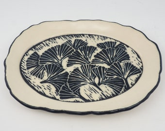 Ceramic Tray with Sgraffito Ginkgo Leaves - Tapas Plate - LittleTray - Soap Dish - Spoon Rest - Trinket Dish - Black & White Sgraffito