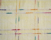 Vintage Fabric - Embroidered Plaid on Pale Yellow - By the Yard