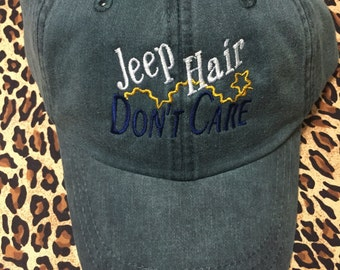 Jeep Hair Don't Care Ladies Baseball Hat Woman Ball Cap Embroidered Messy Hair 18 Hat Color Lake Hair Choices