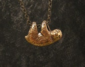 """Happy Little Sloth Necklace, three toe sloth, dangles freely on a 20"""" inch chain (br)"""