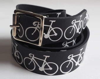 Bikes on black leather belt, bike belt, mens belt, cycling gift, cycling gifts, bicycle print, belt men, bicycle belt, black leather belt