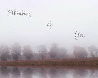 Thinking of You Photo Greeting Card, 4x5 miss you cards blank inside just because, sympathy card, landscape tree fog encouragement care love