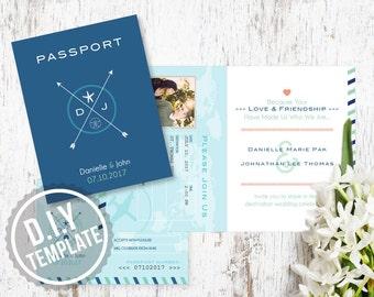 Printable DIY Custom Wedding Passport Invitation Suite - Travel Destination Wedding - Customized Printable 6 Page PDF