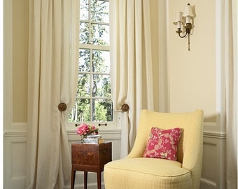 Egg shell linen, Pleated curtain panels, with covered buttons, inverted pleats, choose your own color
