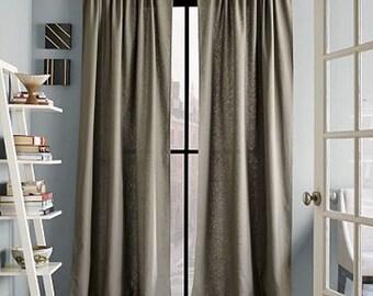 Pair Double width 100W linen curtains European linen drapes, curtain panels choose your color