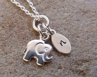 Kids Personalised Silver Elephant Necklace