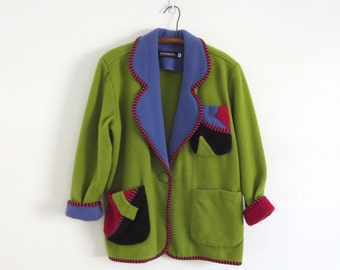 Vintage Canvasbacks jacket Canvasbacks blazer Canvasbacks Arty and Artistic jacket Women's Size Medium wool jacket Size M Wool Patchwork