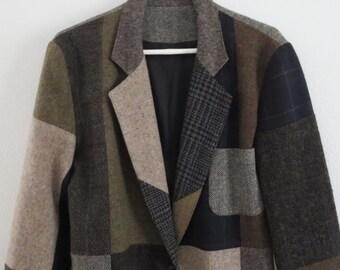 Vintage patchwork jacket Patchwork Men's suiting fabric blazer Arty and artistic jacket Women Size XS Wool Patchwork blazer Boyfriend Blazer