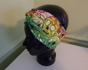 Rainbow Zombies Faux Knot Turban Style Headband
